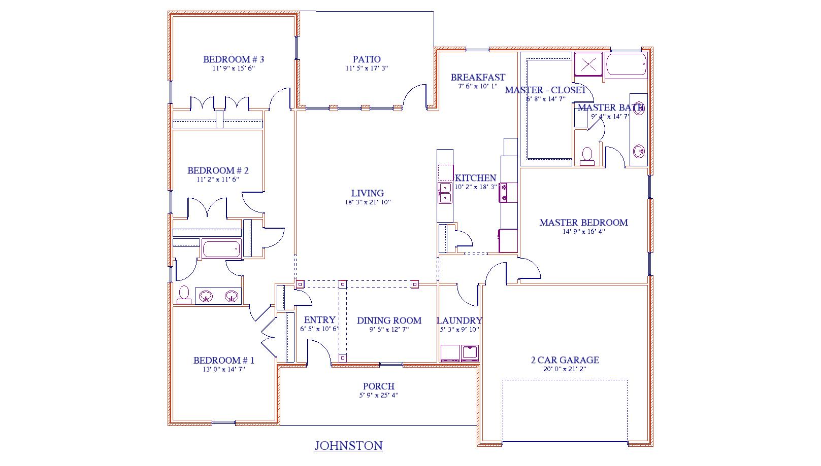 Johnston Floor Plan - Abshire Custom Homes in Southeast Texas
