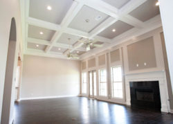 The Patsy Living Room Coffer Ceiling Above Tall Windows
