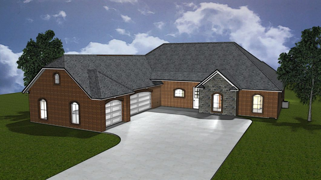 3D Rendered custom home elevation