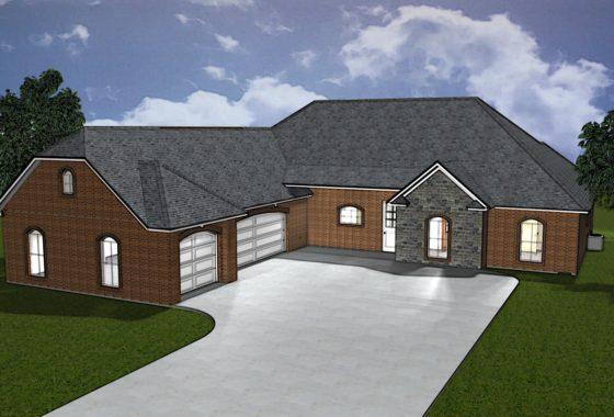 3D Rendered custom home elevation