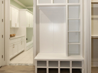 Reidy Modern Style Home Mudroom with built in backpack area storage