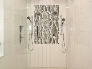 Reidy Modern Style Home Master Shower with dual handheld and rain shower fixtures