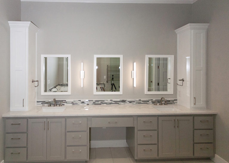 Reidy Modern Style Home Master Bathroom vanity with two sinks