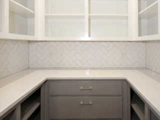 Reidy Modern Style Home Kitchen Walk In Pantry with Cabinets and Shelving