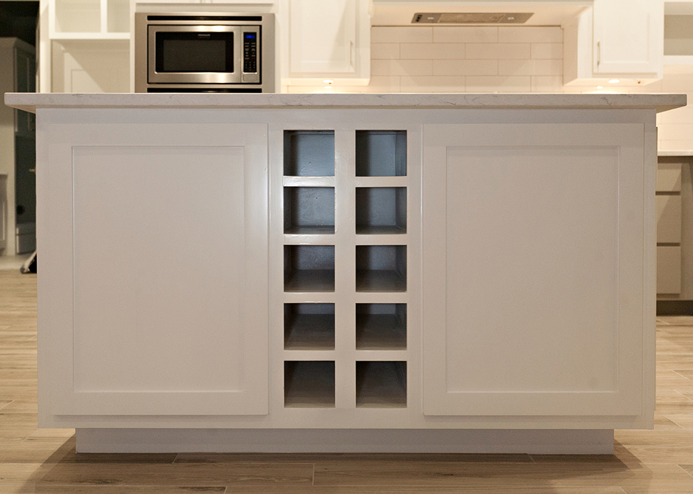 Reidy Modern Style Home Kitchen Island with Built in Wine Rack