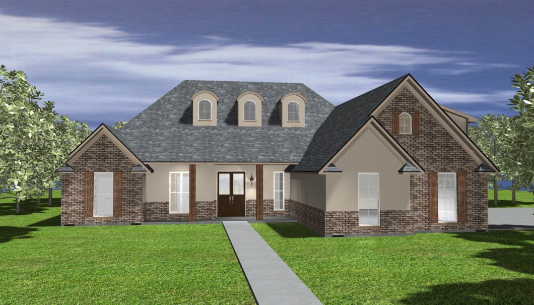 The White 3D Rendered Elevation view of house Four Bedroom Home