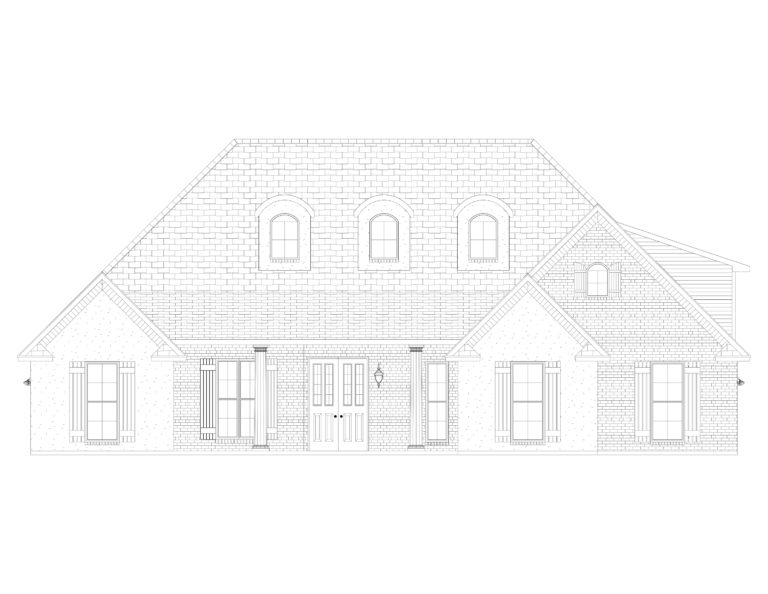 The White Line Drawing Elevation front view of house