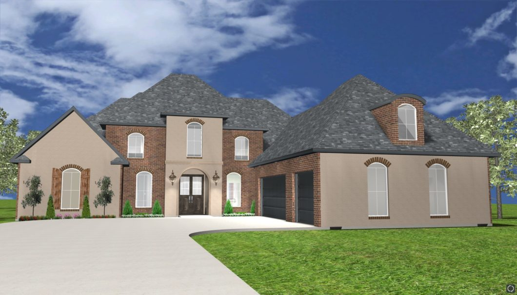 The Davidson Two Story Home 3D Rendered Elevation 1