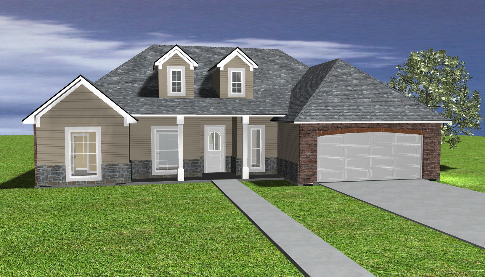 The Duncan 3d Rendered Elevation Front View