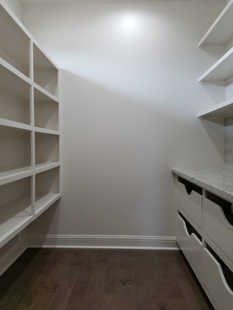 200 Hidden Grove Court pantry with built in shelving and drawers