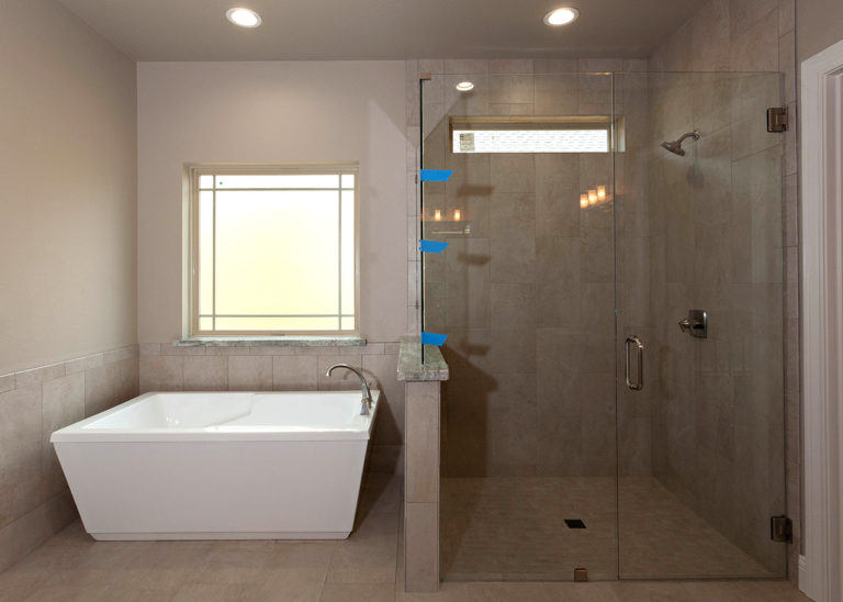 195 Hidden Grove Court Master bath with freestanding tub and glass shower