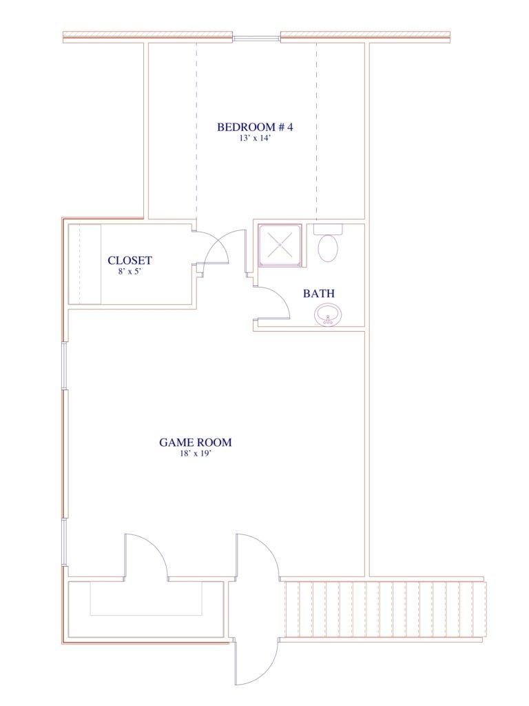 200 Hidden Grove Court second floor plan game room and bedroom